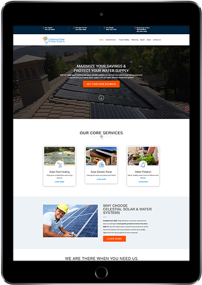 Celestial Solar's New Website Displayed on a Tablet