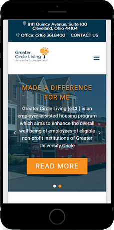 Greater Circle Living New Website Displayed On a Cellphone