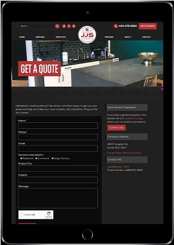 JJS Design New Website Displayed on a Tablet