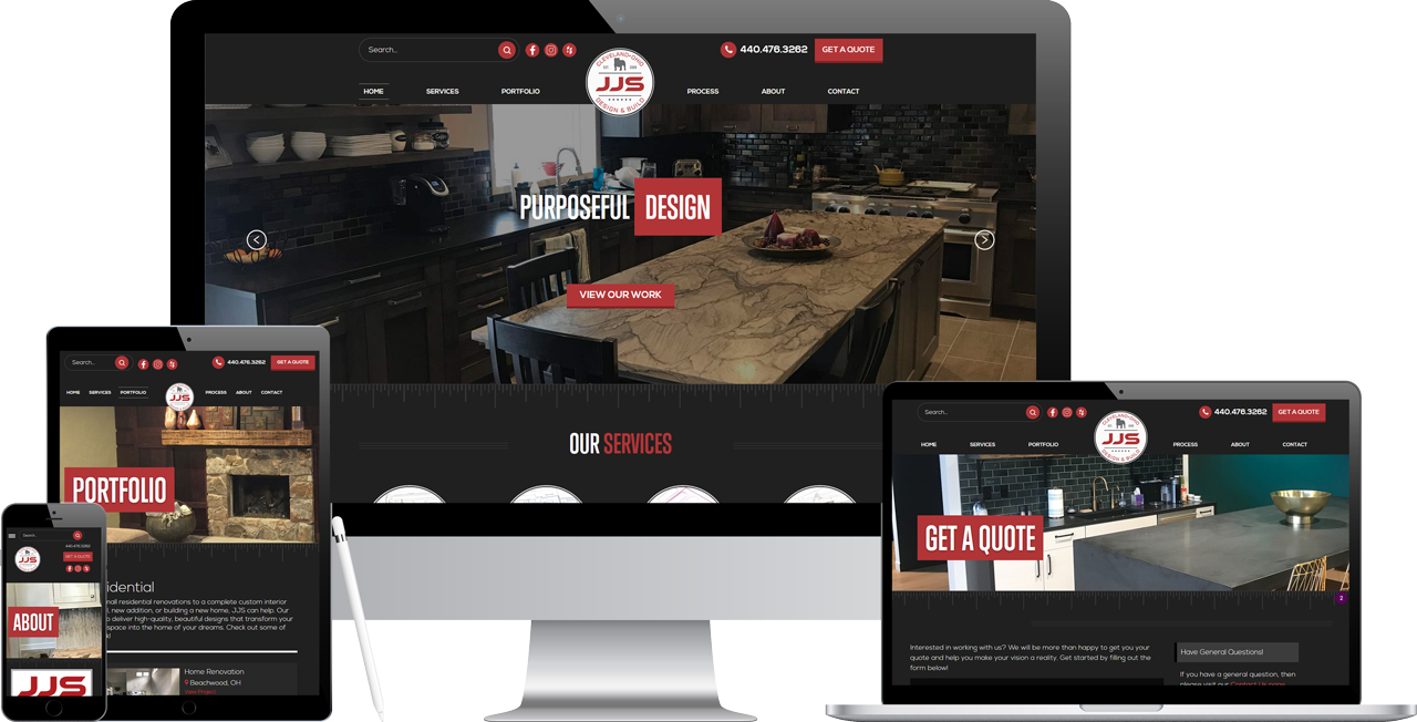 JJS Design's New Website Displayed on Multiple Devices