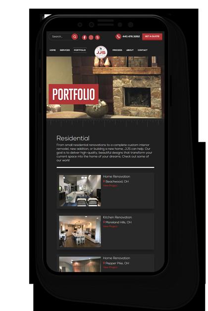 JJS Design New Website Displayed on a Smartphone