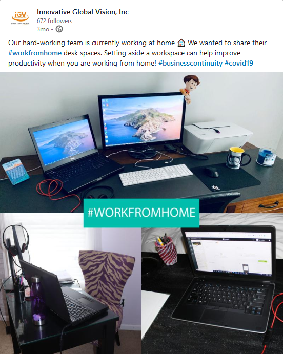 LinkedIn Work From Home Post Example