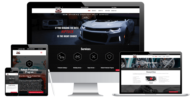 NipTuck Auto New Website Displayed on Mobile Devices