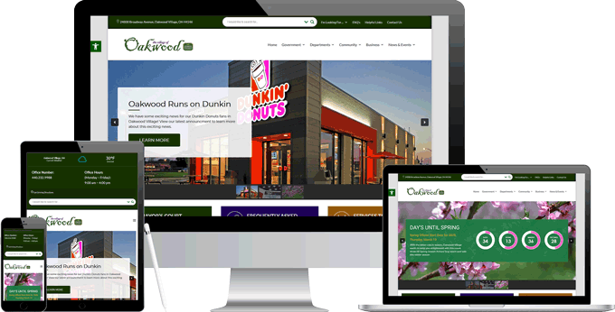 Oakwood Village's New Website Displayed on Multiple Devices