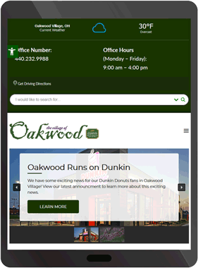 Oakwood Village's New Website Displayed on a Tablet
