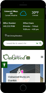 Oakwood Village's New Website Displayed on a SmartPhone