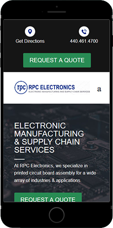 RPC Electronics new website viewed on a cellphone
