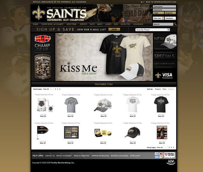 Saints Team Shop - eCommerce Website